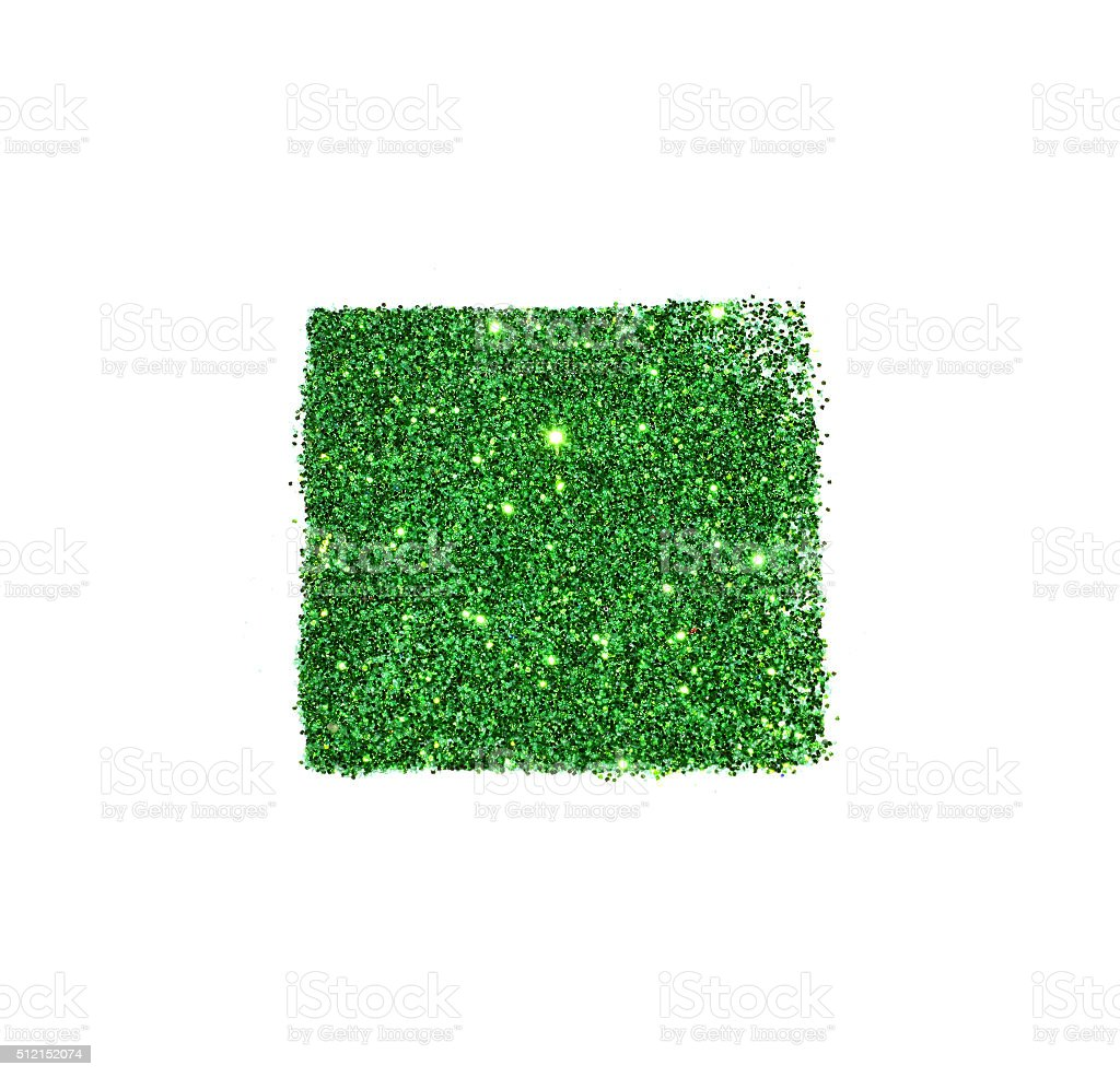Abstract square of green glitter sparkle on white background stock photo