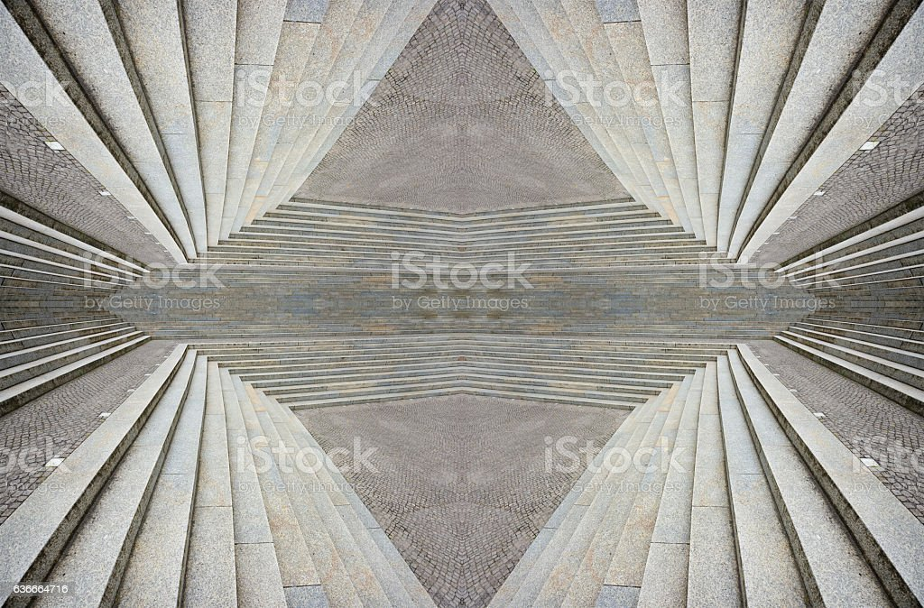 Abstract stairway forming pattern, kaleidoscopic stock photo