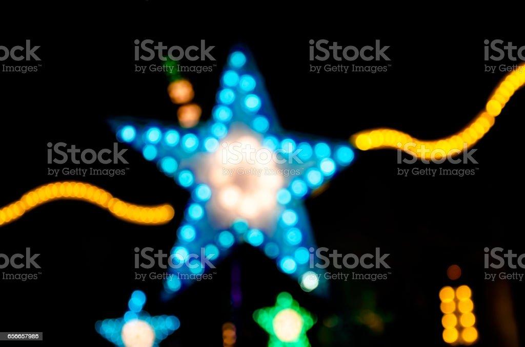 Abstract star shape bokeh light night stock photo