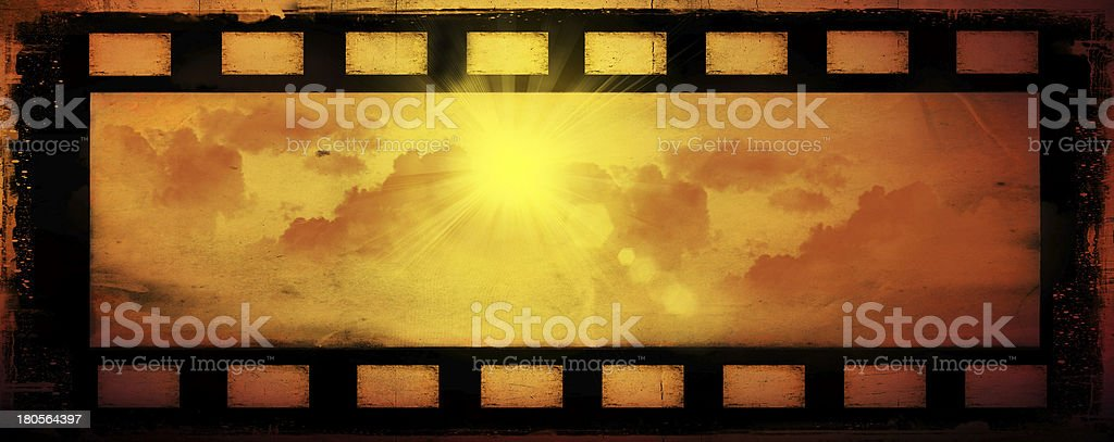 Abstract sun and clouds, film background stock photo