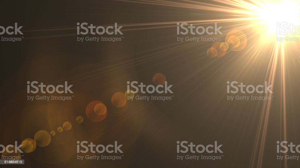Abstract sun rays on black background stock photo