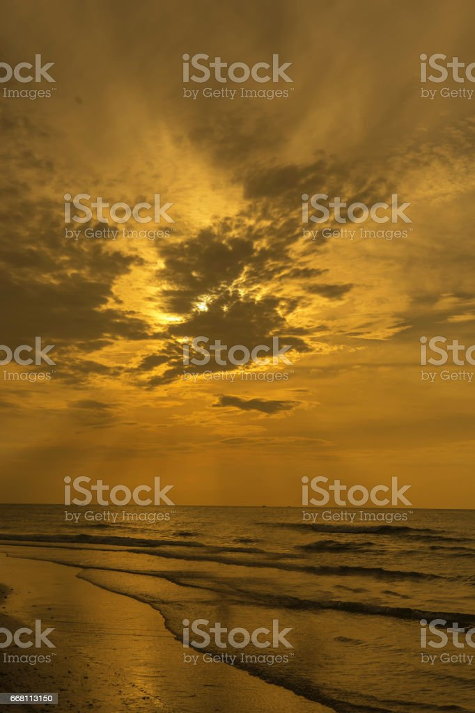 abstract sunset on the beach and golden filter stock photo