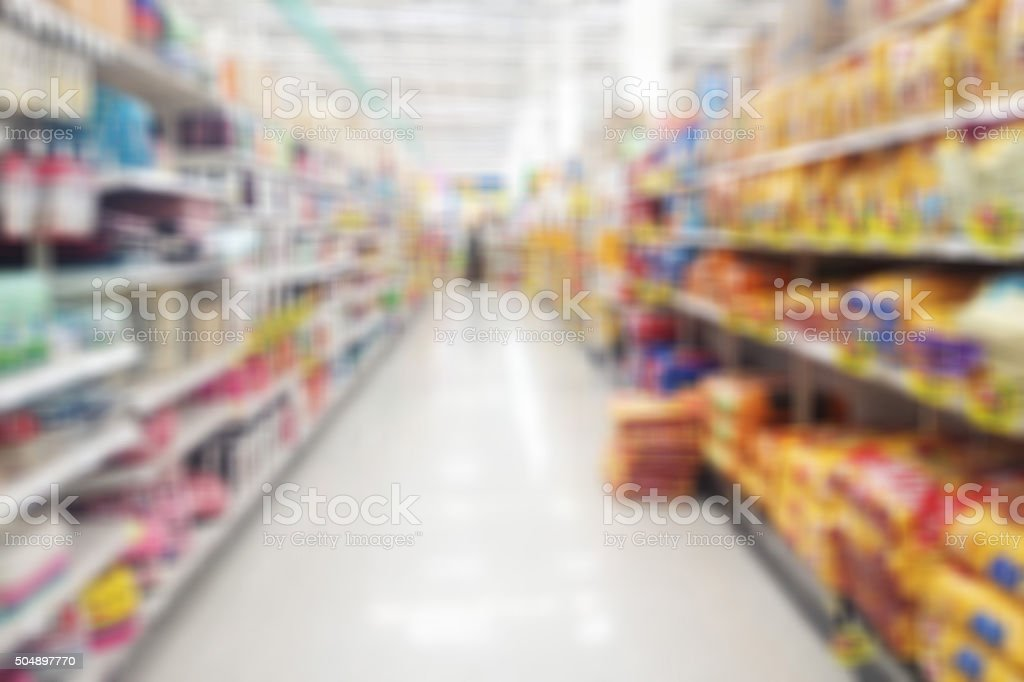 Abstract supermarket blurry for background stock photo