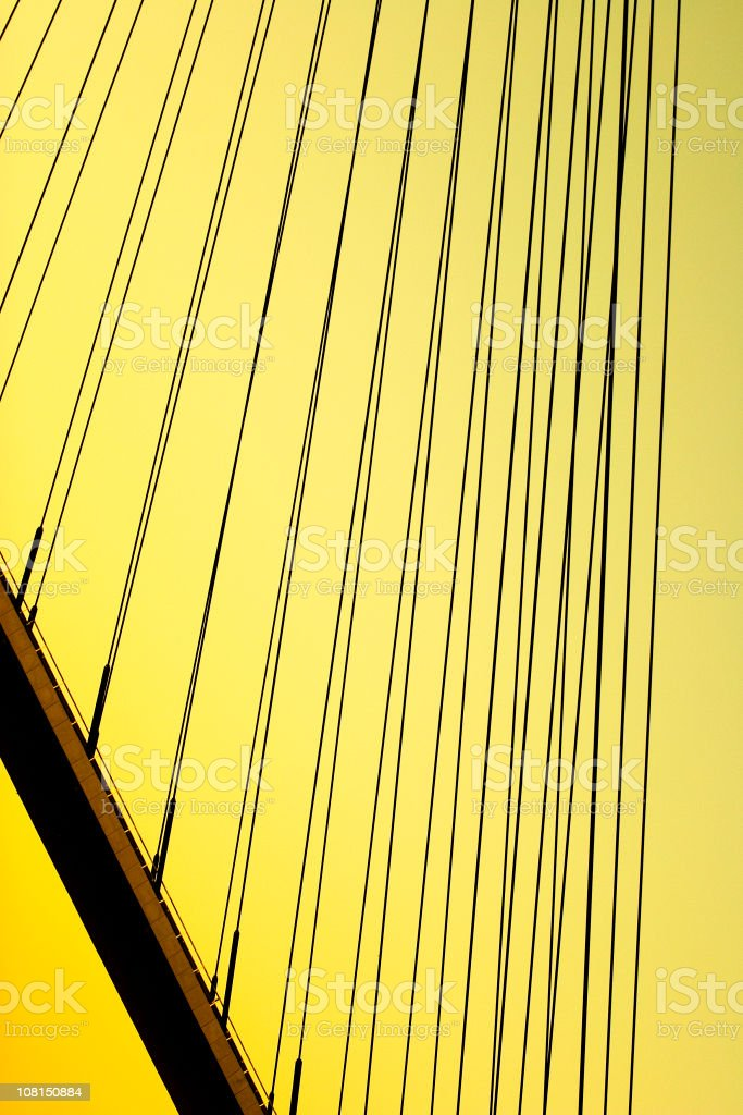 Abstract Suspension Bridge on Yellow Background royalty-free stock photo