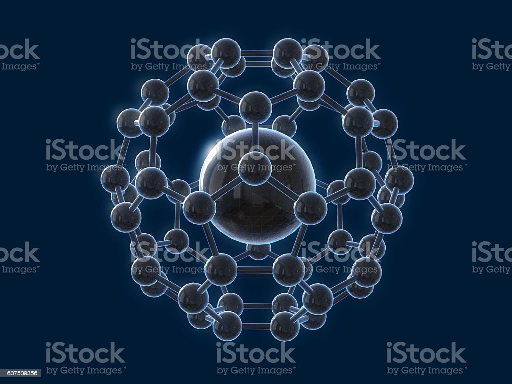 Abstract symbol of atom and molecule .3D rendering stock photo