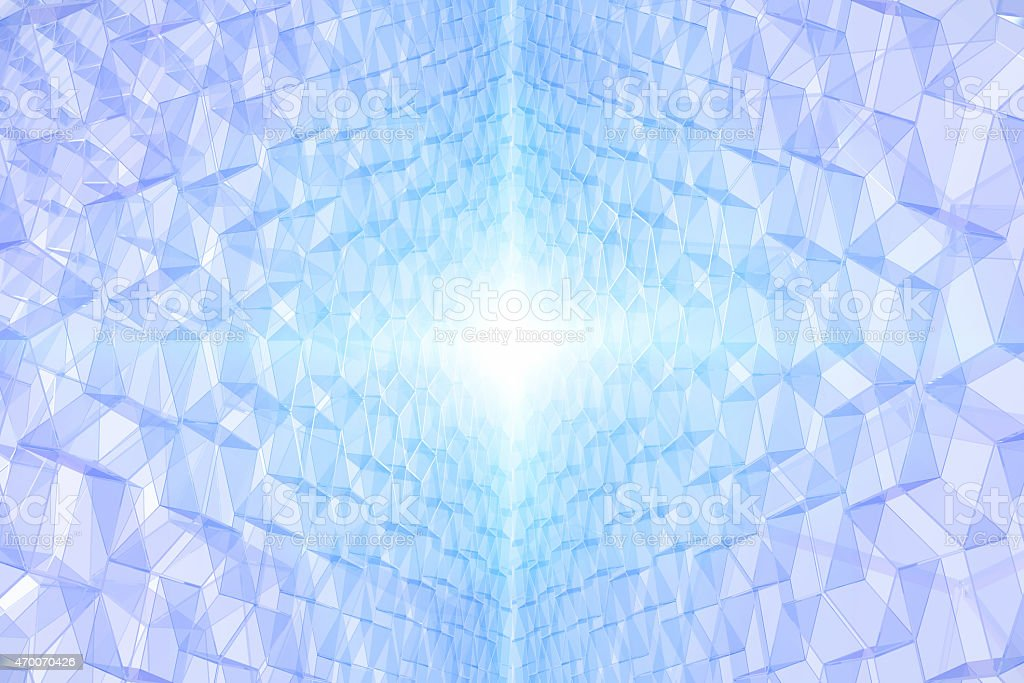 Abstract symmetric background with 3D pattern and glowing light vector art illustration