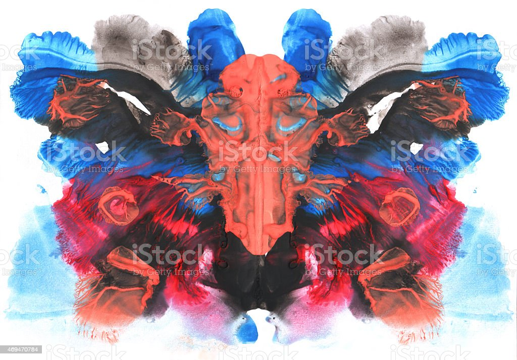 Abstract symmetric painting. Rorschach test stock photo