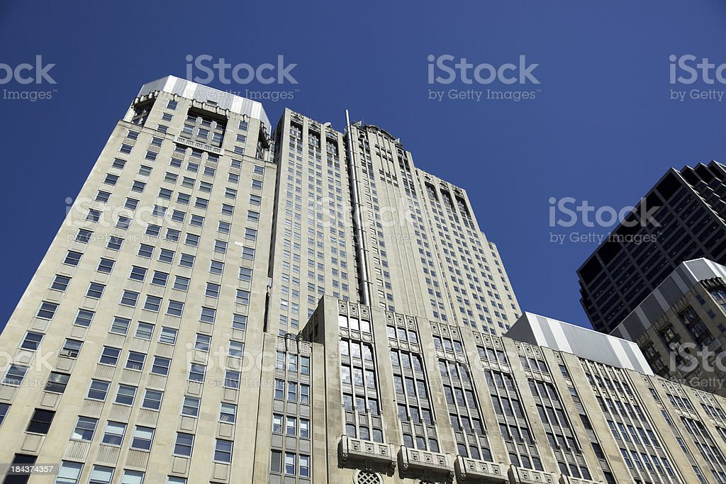 Abstract tall office buildings in downtown Chicago royalty-free stock photo