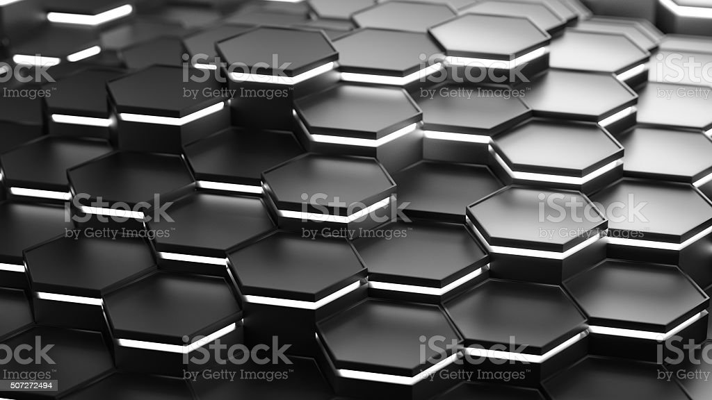 Abstract Technical 3D hexagonal background pattern design stock photo