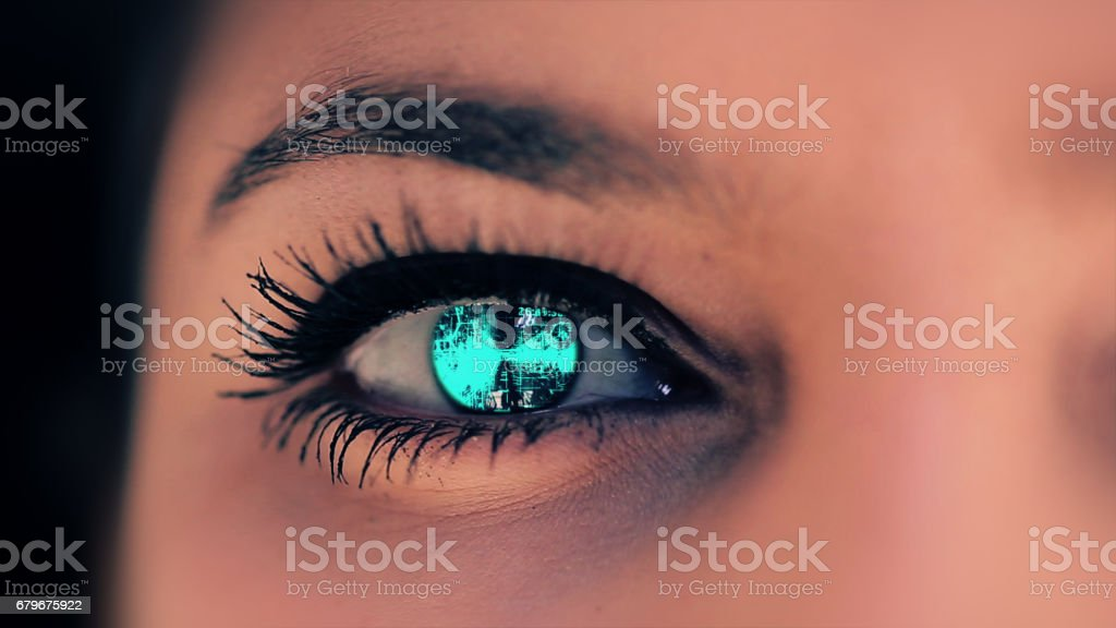 Abstract techno eye background stock photo