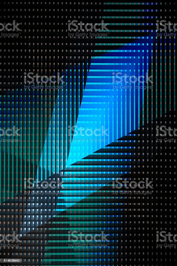 Abstract technological / architectural composition. Close-up photo of perforated surface. stock photo