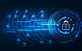 Abstract Technology background.Security concept with padlock ico