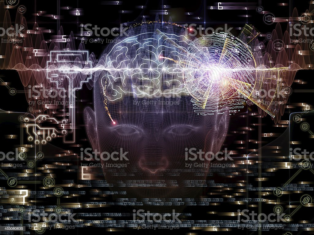 Abstract technology concept of brain inside head royalty-free stock photo