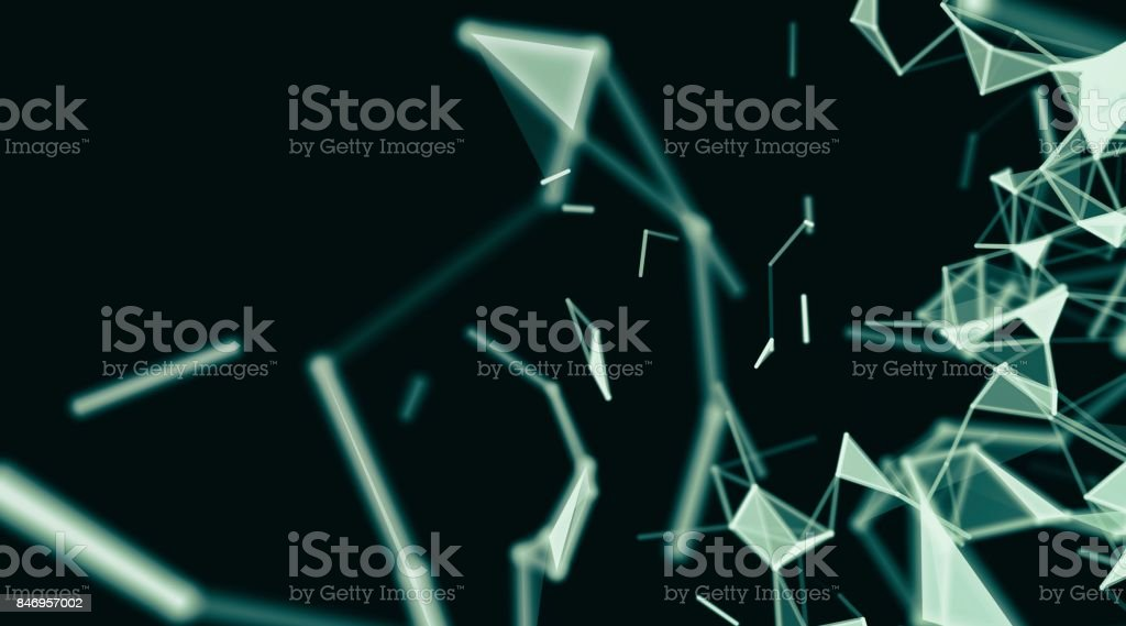 Abstract technology geometry surfaces, lines and points background, Used as digital wallpaper and technology background. stock photo