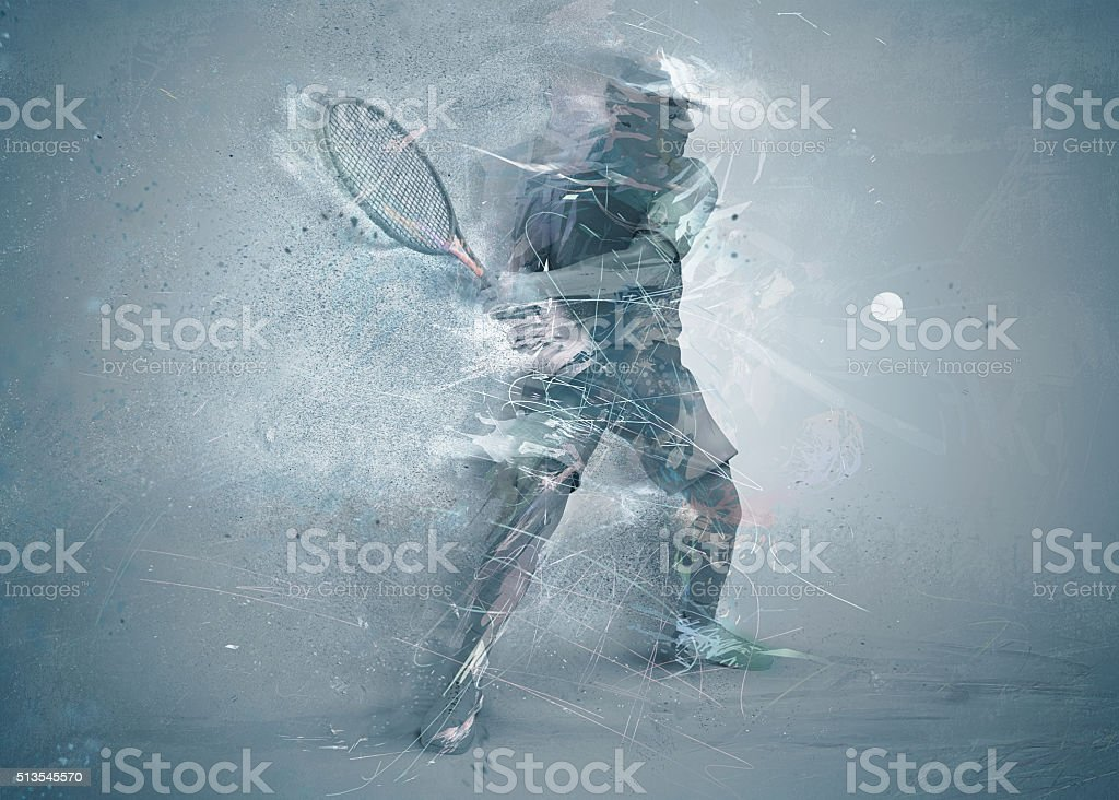 abstract tennis player stock photo