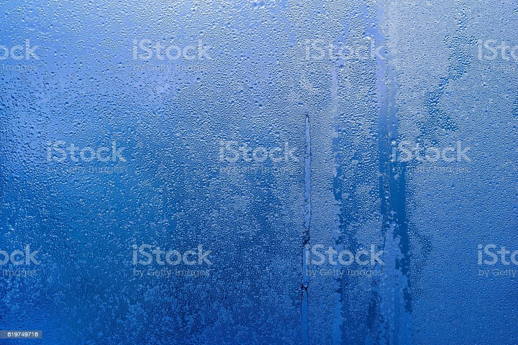 abstract texture frozen water drops of blue color stock photo
