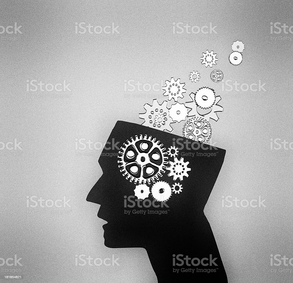 Abstract thinking head with cogs royalty-free stock photo