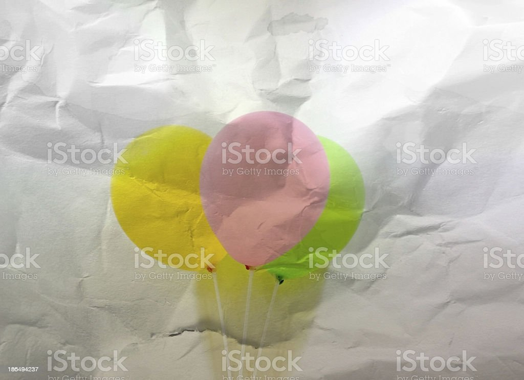 abstract three balloons on wrinkled paper royalty-free stock photo