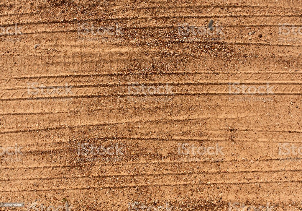 Abstract tire tracks on sand. stock photo