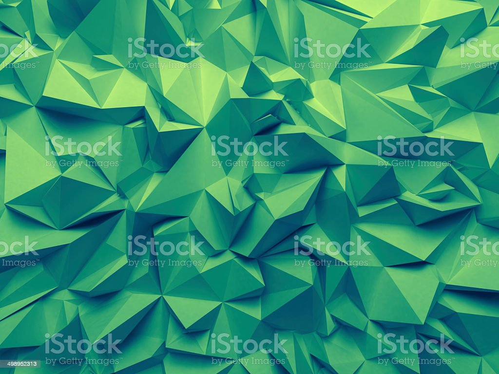 abstract trendy emerald green faceted background stock photo