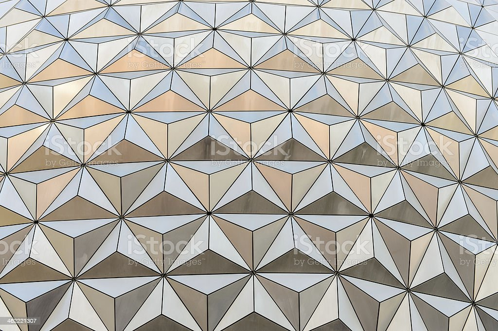 Abstract triangle background from the outside of a geodesic dome stock photo