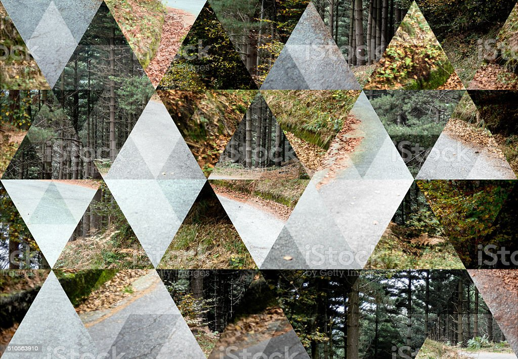 Abstract triangle shaped background: Autumn landscape stock photo