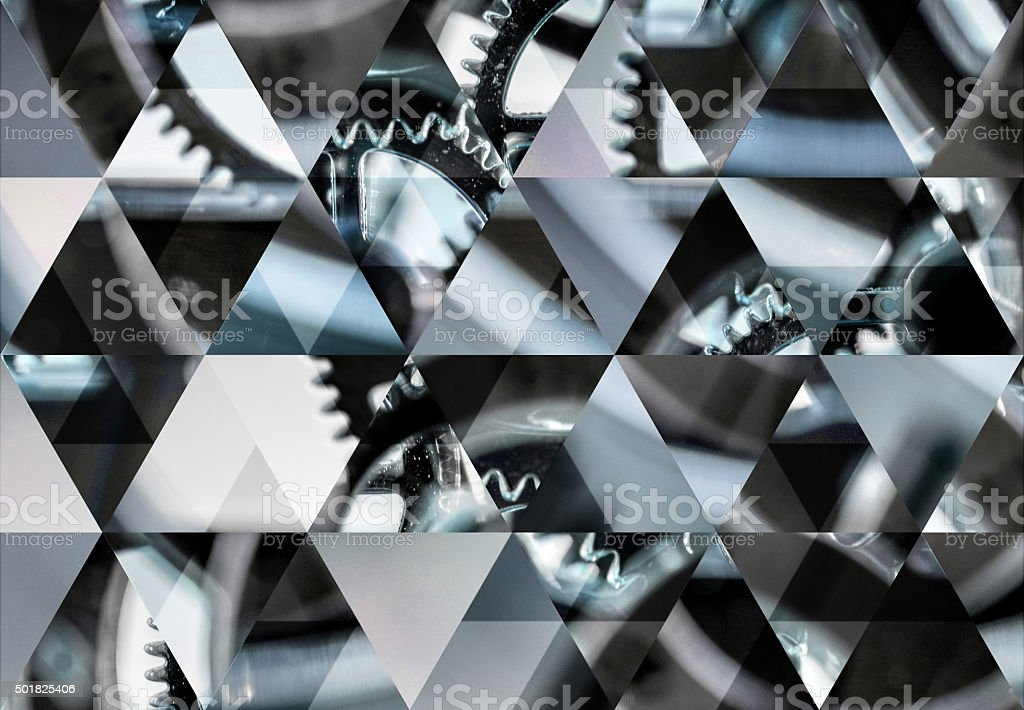 Abstract triangle shaped background: Clock macro background stock photo