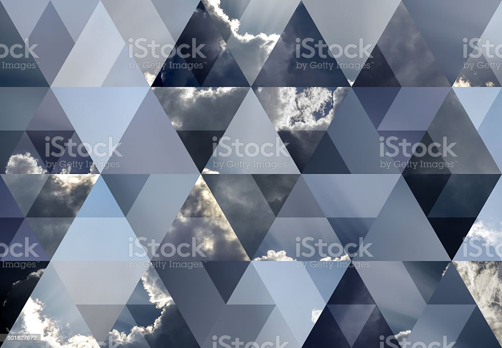Abstract triangle shaped background: Cloud with sunbeams stock photo
