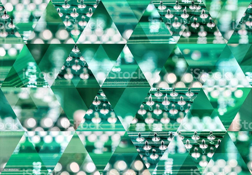 Abstract triangle shaped background: Electronic circuit abstract macro stock photo