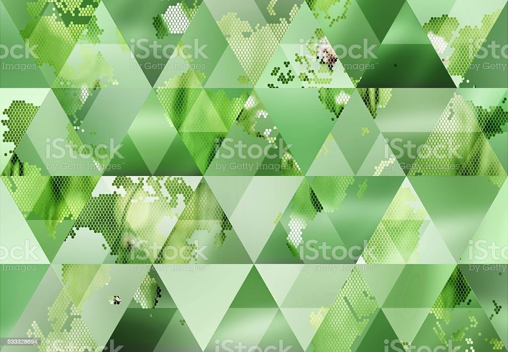 Abstract triangle shaped background: Hexagon-pixelated nature map of the World stock photo