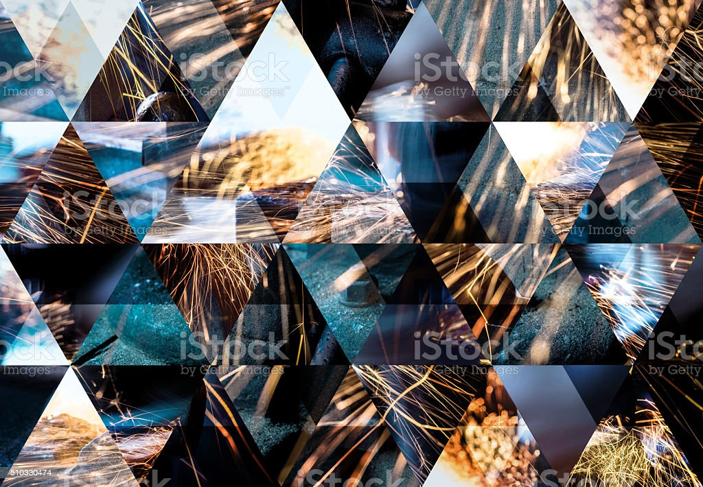 Abstract triangle shaped background: Mechanical industry welding sparks stock photo