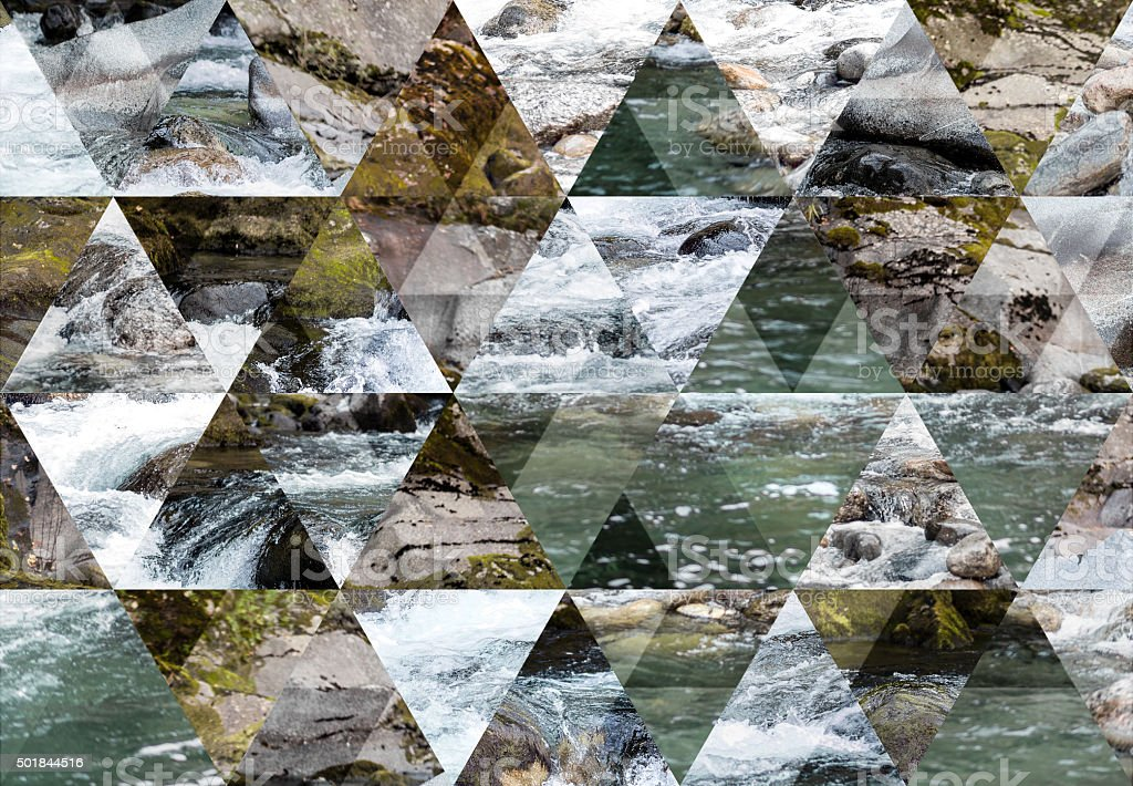Abstract triangle shaped background: Mountain river long exposure landscape stock photo