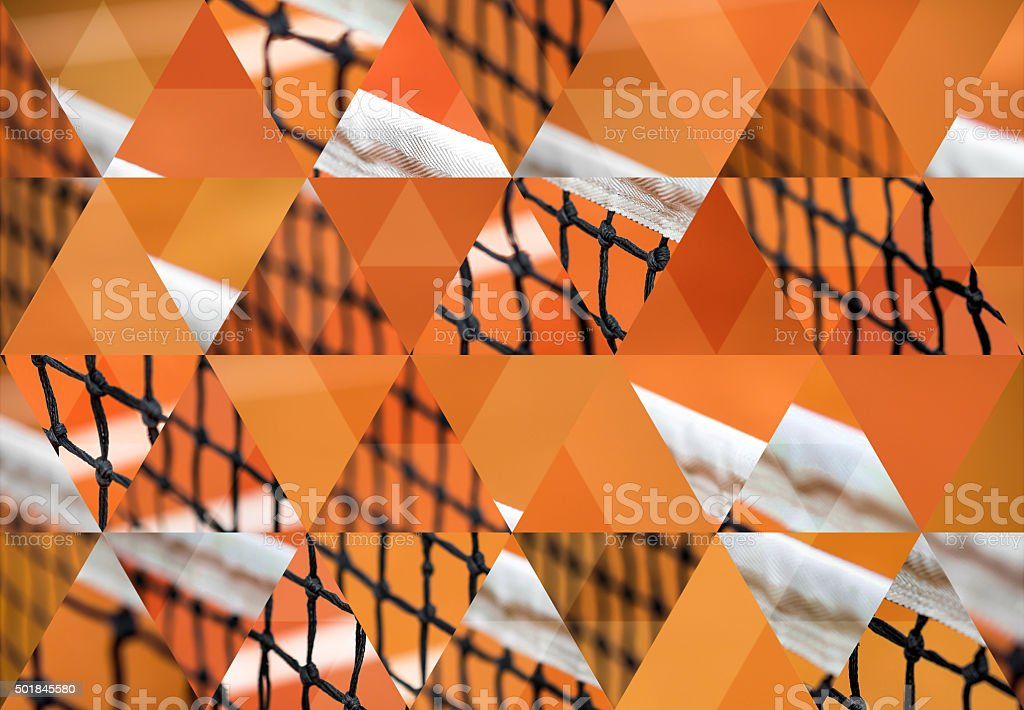 Abstract triangle shaped background: Red clay tennis court stock photo