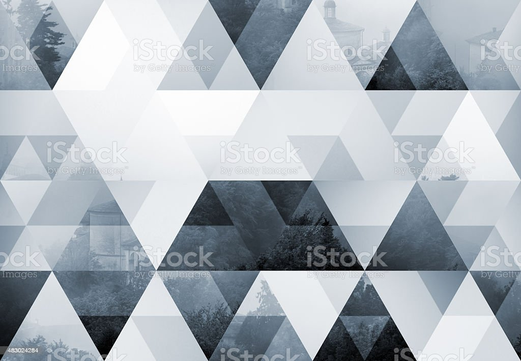 Abstract triangle shaped background: Sacro Monte di Varallo, misty fog stock photo