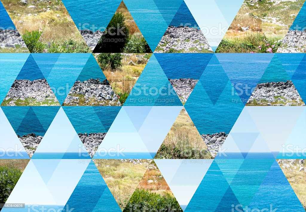 Abstract triangle shaped background: Sea in Puglia, Italy stock photo