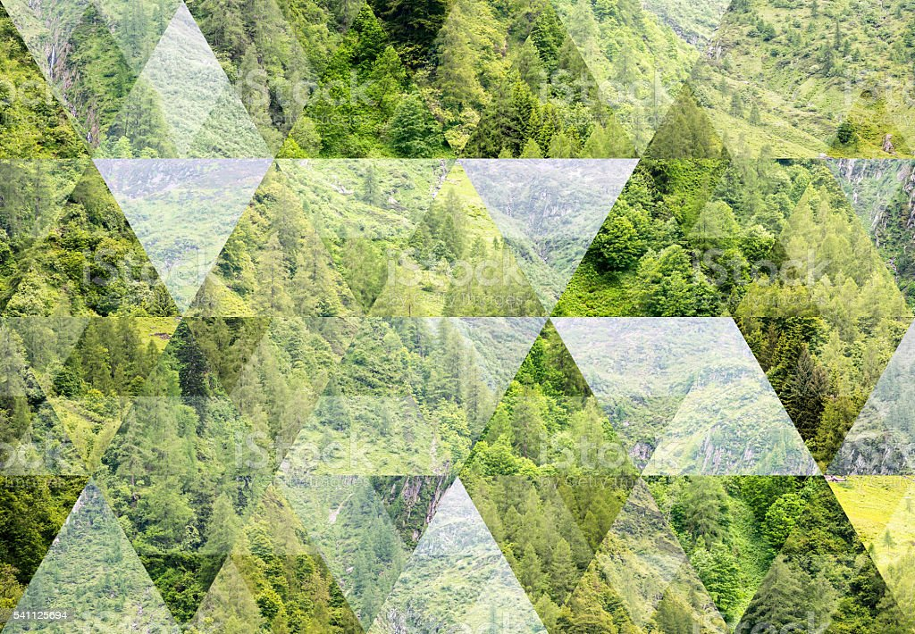 Abstract triangle shaped background: Summer mountain landscape in Italian Alps stock photo
