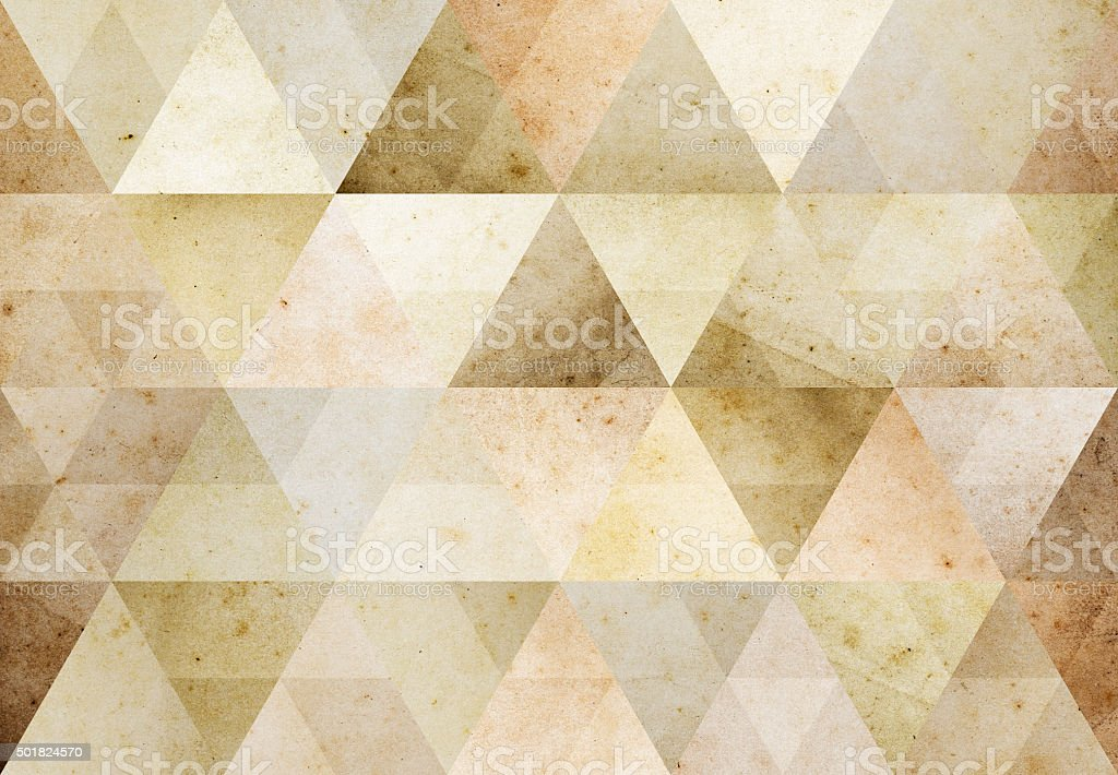 Abstract triangle shaped background: vintage yellow aged paper texture stock photo