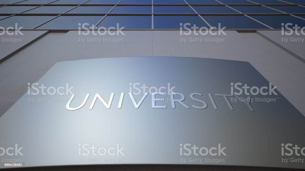 Abstract university signage board. Modern office building. 3D rendering stock photo