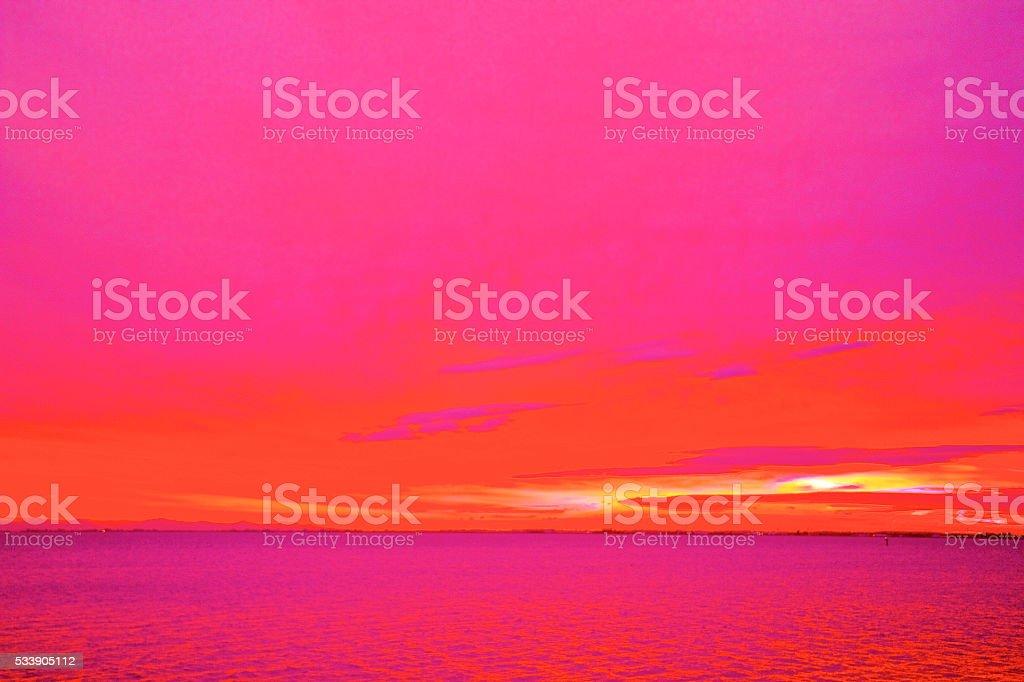 Abstract Vibrant Sunset stock photo