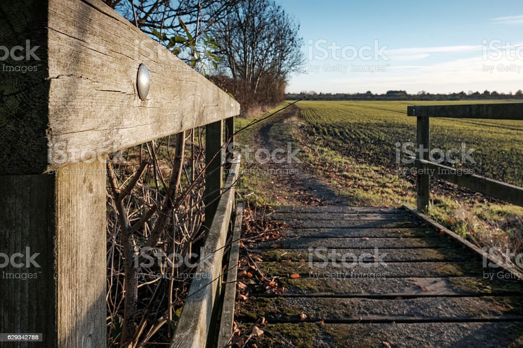 Abstract view from a timber footpath bridge stock photo