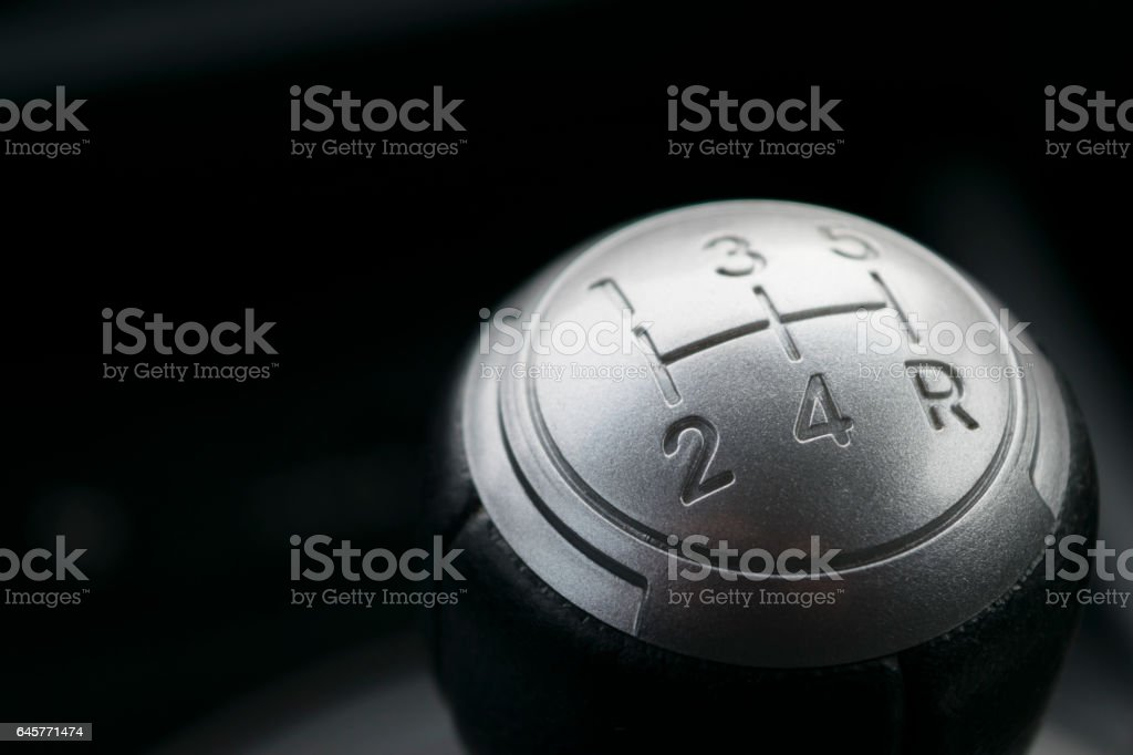 abstract view of a gear lever, manual gearbox, car interior stock photo