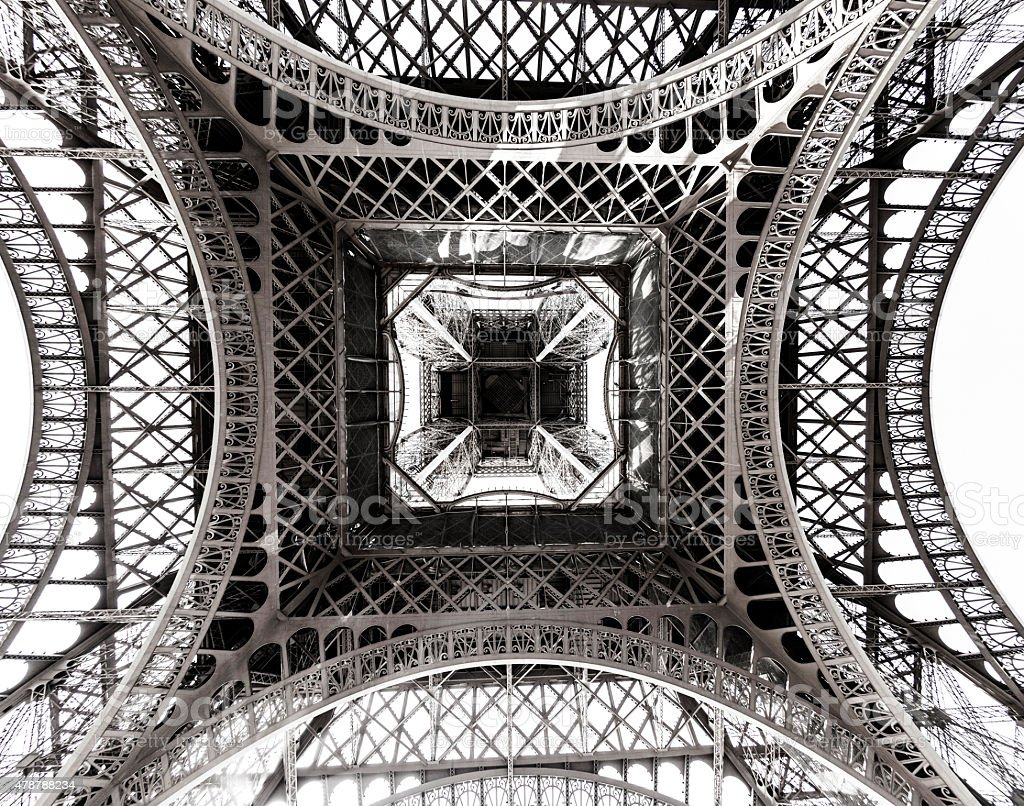 abstract view of construction of Eiffel Tower stock photo