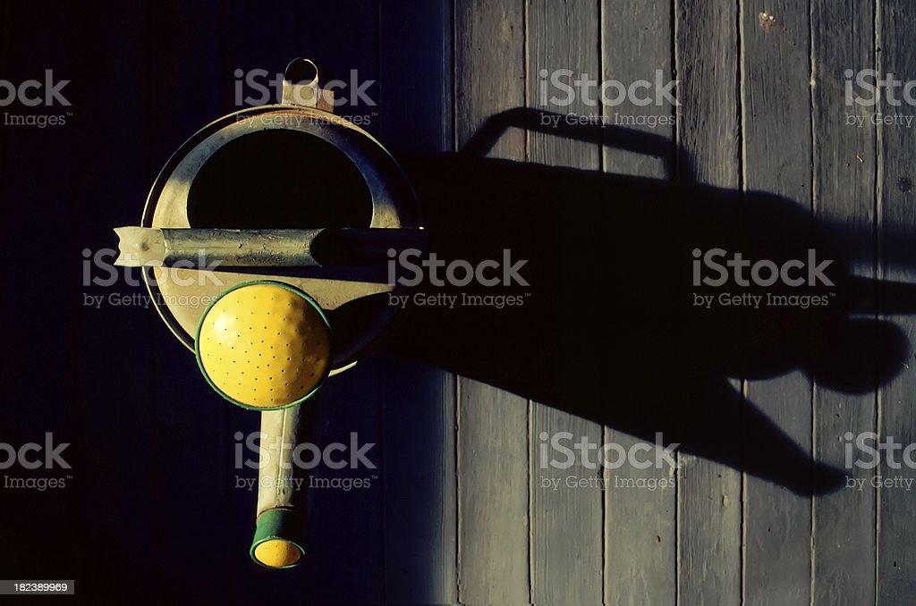 Vue abstraite fleur d'Arrosoir en bois back porch photo libre de droits