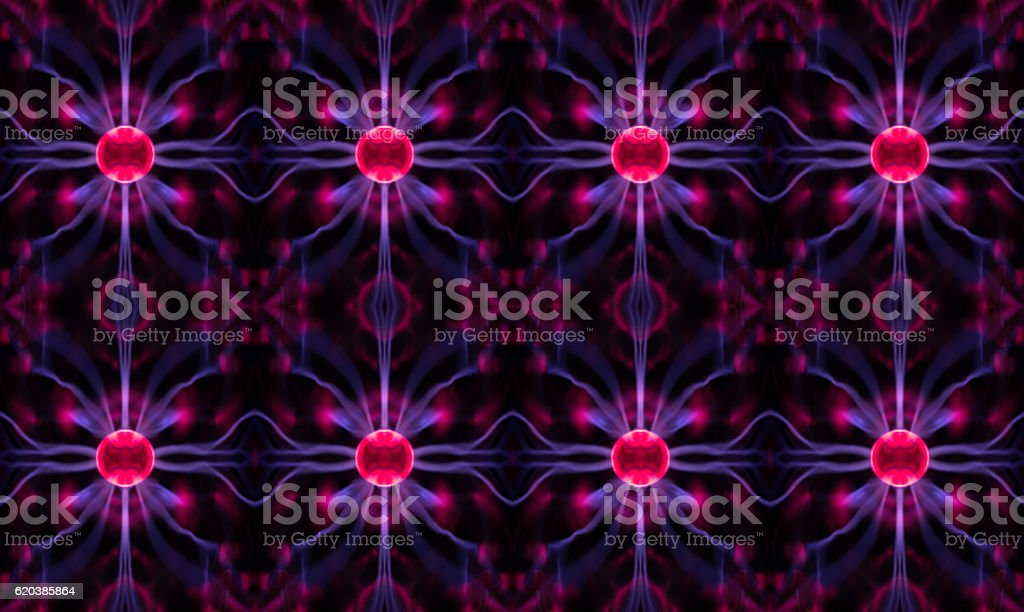 Abstract view of plasma vortexes, crystal structure lattice or networking stock photo