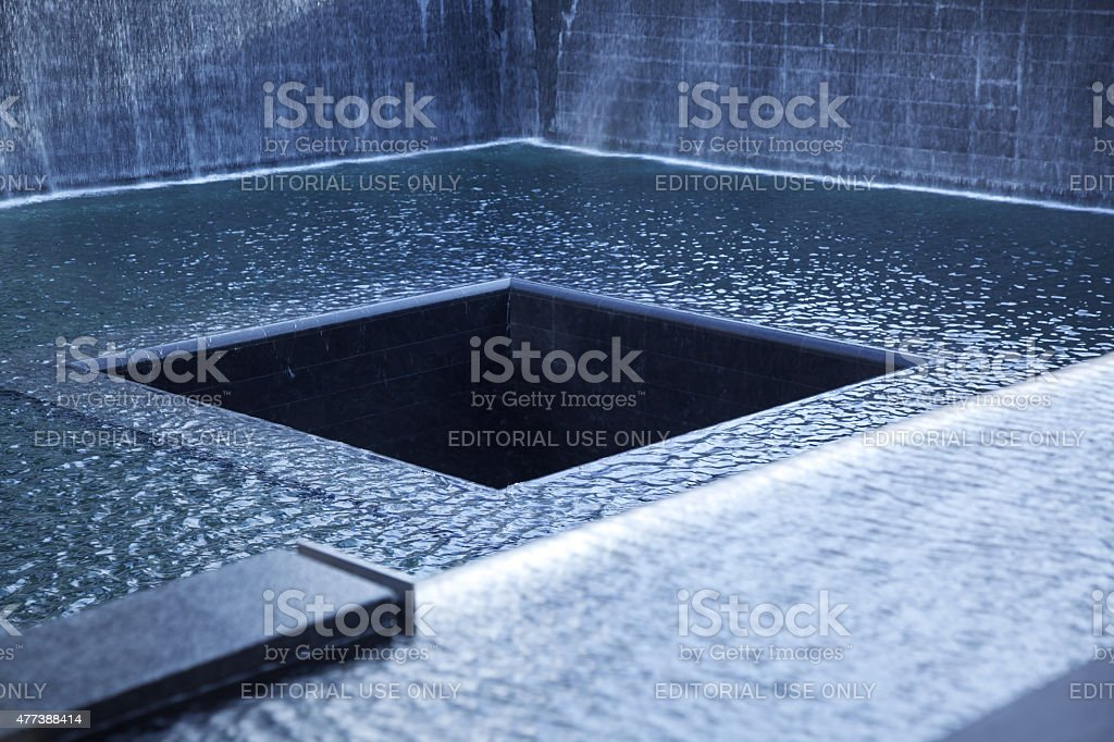 Abstract view of the 9/11 Memorial in New York stock photo