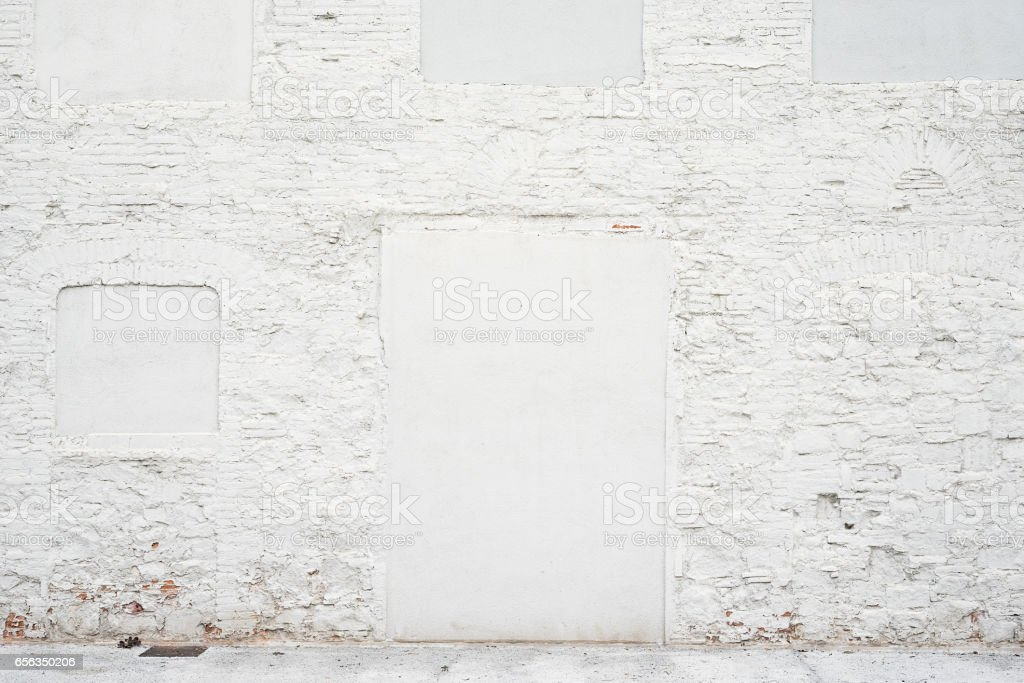 Abstract vintage empty background.Photo of old white painted brick wall texture. White washed brickwall surface.Horizontal mockup. Front side view. stock photo