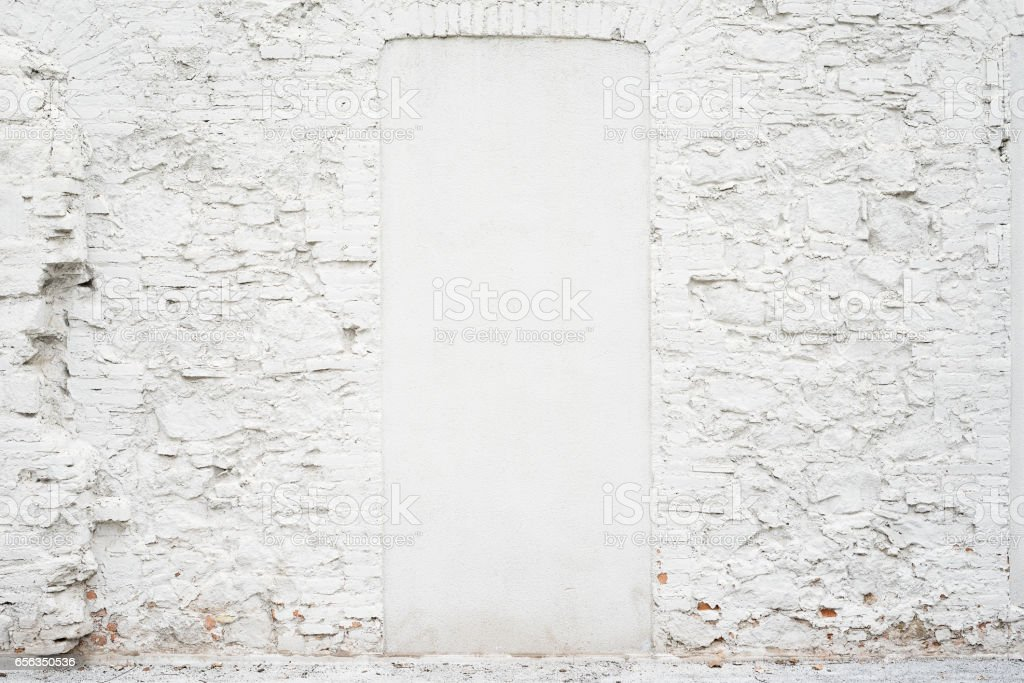 Abstract vintage empty background.Photo of old white painted brick wall texture. White washed brickwall surface.Horizontal mockup. stock photo