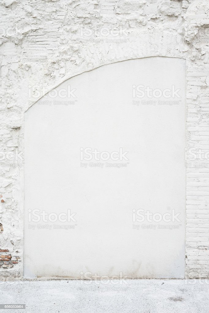 Abstract vintage empty background.Photo of old white painted brick wall texture. White washed brickwall surface.Vertical mockup. Front side view. stock photo