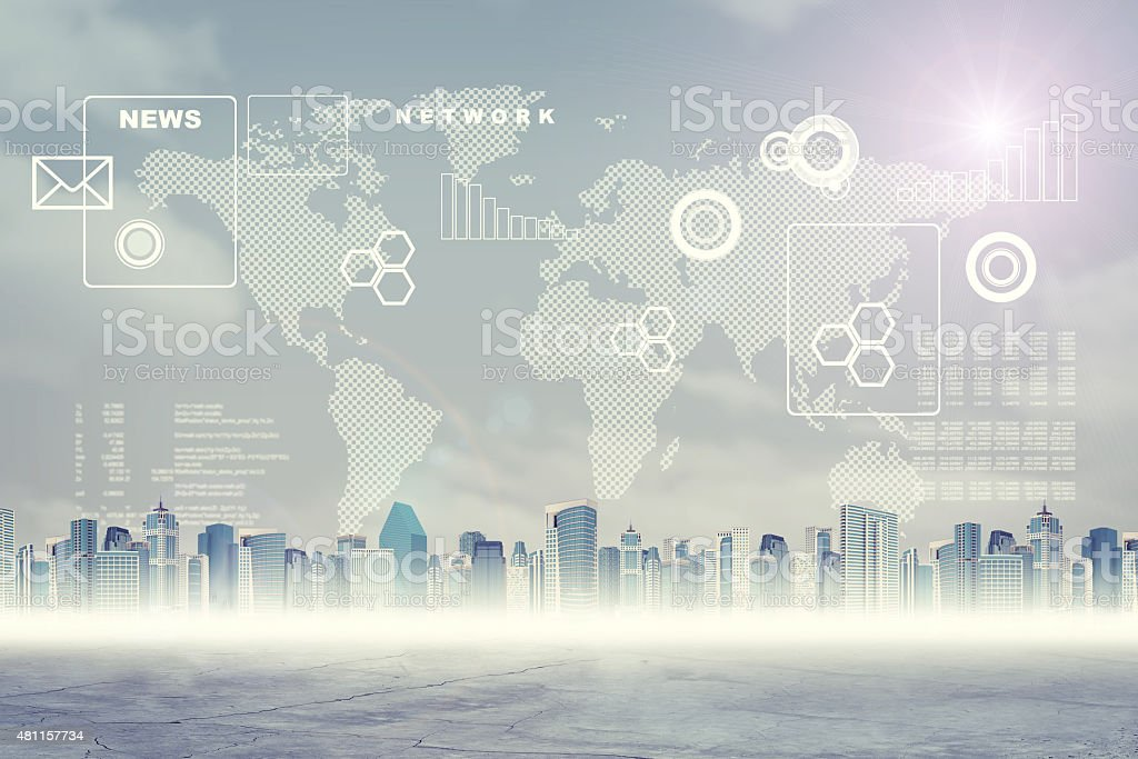 Abstract virtual background with world map stock photo
