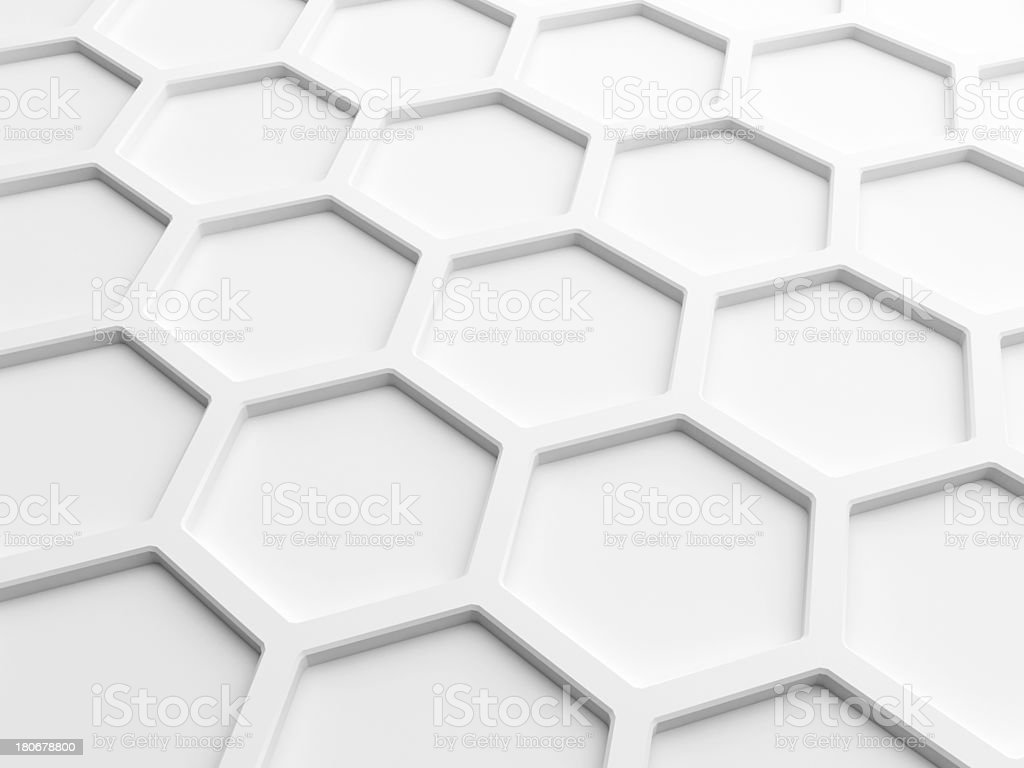 Abstract wall background with white honeycomb structure. 3d render illustration royalty-free stock photo